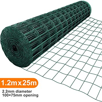 Amagabeli 1.2M X 25M Malla de Alambre Cuadrada Verde - RAL6005 Malla Tamaño 75 x 100 mm Rollo de Malla de Alambre Valla Jardín Alambrada HC04: Amazon.es: Bricolaje y herramientas