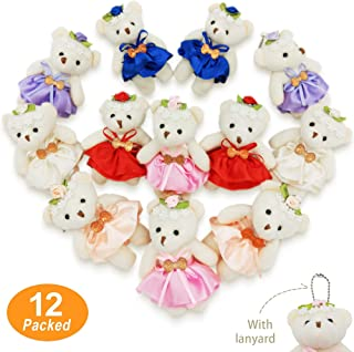 KUDES 12 Pack Mini Bears Plush Toys, 10cm Stuffed Teddy Bears Animals Keychain Doll Bulk for Wedding Party Favors Decoration, Baby Shower ,Stocking Stuffers,Treasure Box Supplies (10 cm Pearl Bear)