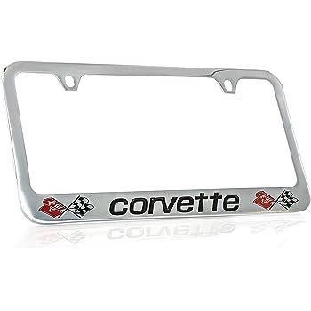 Chevrolet Corvette C5 Black Coated Metal Bottom Engraved License Plate Frame Baronlfi