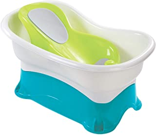 Summer Comfort Height Bath Tub – Elevated and Spacious Baby Bathtub with Newborn Bath Support – Extended Use Features Incl...