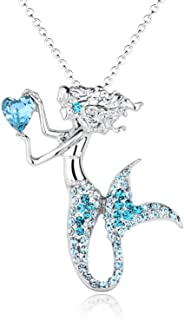 luomart Fashion Mermaid Birthstone Necklace Jewelry White Gold Plated Austrian Crystal Magic Pendant Gift