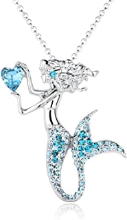 Fashion Mermaid Birthstone Necklace Jewelry White Gold Plated Austrian Crystal Magic Pendant Gift