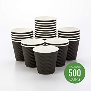500-CT Disposable Black 8-OZ Hot Beverage Cups with Ripple Wall Design: No Need for Sleeves – Perfect for Cafes – Eco-Friendly Recyclable Paper – Insulated – Wholesale Takeout Coffee Cup