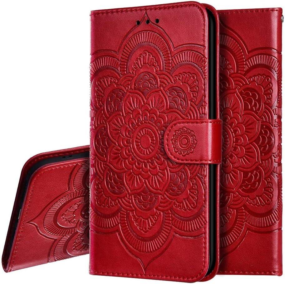IMEIKONST Sony Xperia XZ3 Funda Embossed Libro de Cuero Billetera Premium Phone Case Flip Folio Card Slot Holder Magnetic Stand Funda para Sony Xperia XZ3 Mandala Red LD
