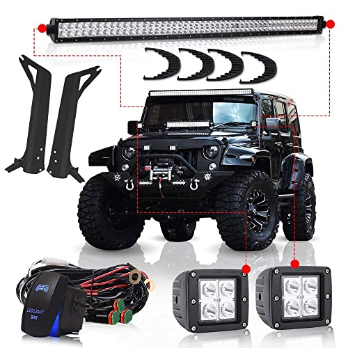 led lights tj jeep amazon com turbosii for 1997 2006 jeep wrangler tj 50inch led light bar offroad light osram chips