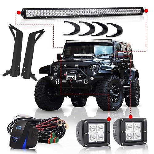 turbosii for 1997-2006 jeep wrangler tj 50inch led light bar offroad light  osram chips