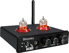 Dilvpoetry TUBE-T6 真空管プリアンプ 24bit/192kHz 真空管 DACヘッドホンアンプ Bluetooth 5.0 DACヘッドホンアンプ ステレオオーデイオホームアンププリアンプ 高低音調整 真空管6*1n DAC ...