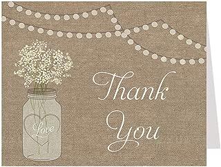 Thank You Cards, Burlap, Bridal Shower, Wedding, Mason Jar, Country, Rustic, Baby's Breath, Flowers, 50 Printed Notes with Envelopes, Burlap Mason Jar