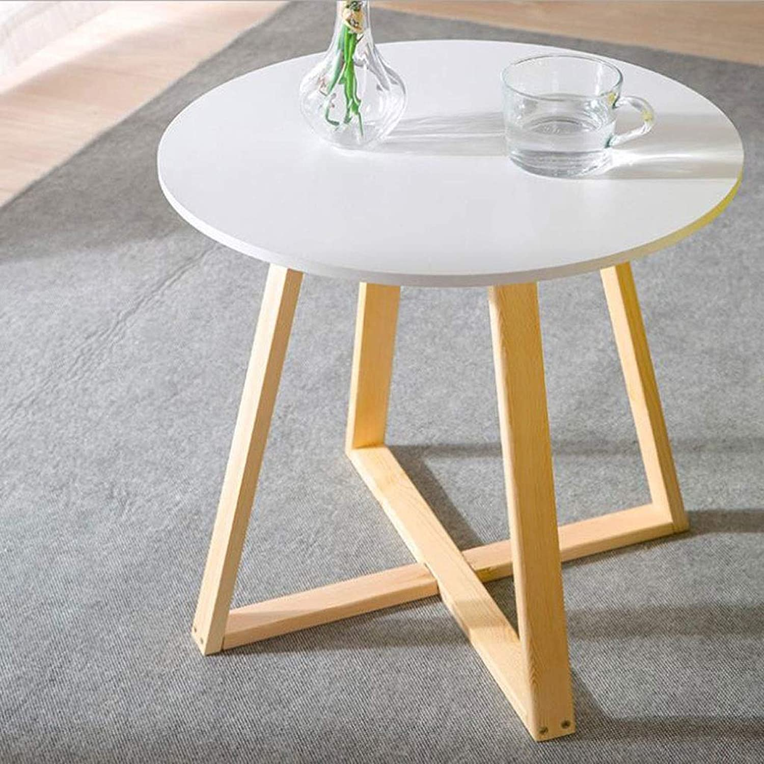 T-Day End Tables Bedside Table Side Table Retro MDF Round Side Coffee Dining Lamp End Table, Small Living Room Table (color   White, Size   60cm)
