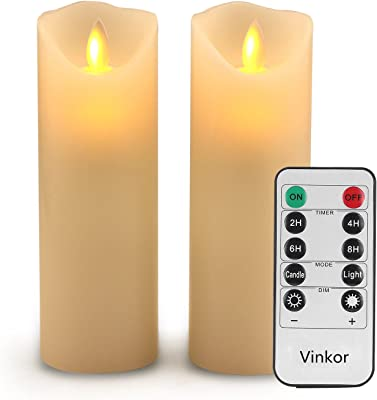 """Vinkor Flameless Candles Flickering Flameless Candles Set of 2 Decorative Flameless Candles: 6"""" Classic Real Wax Pillar with Moving LED Flame & 10-Key Remote Control 2/4/6/8 Hours Timer (Ivory)"""
