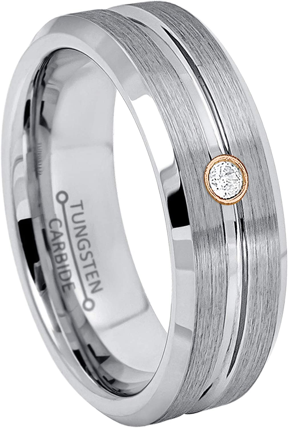 Jewelry Avalanche 正規逆輸入品 7MM Brushed Grooved Center 在庫処分 Edge Beveled Tungst