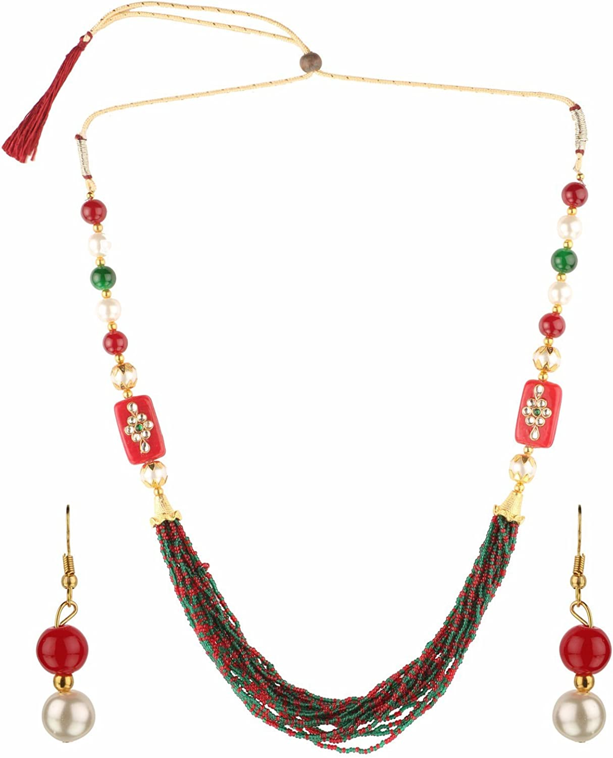 Ethnadore Indian Gold Plated Faux Pearl Beads Strand Statement Neckalce Drop Earrings Set Costume Jewelry