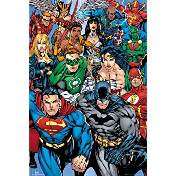 "POSTER STOP ONLINE Justice League Of America - DC Comics Poster (The Heroes - Superman, Batman, Green Lantern, Wonder Woman, Flash.) (Size: 24"" x 36"")"