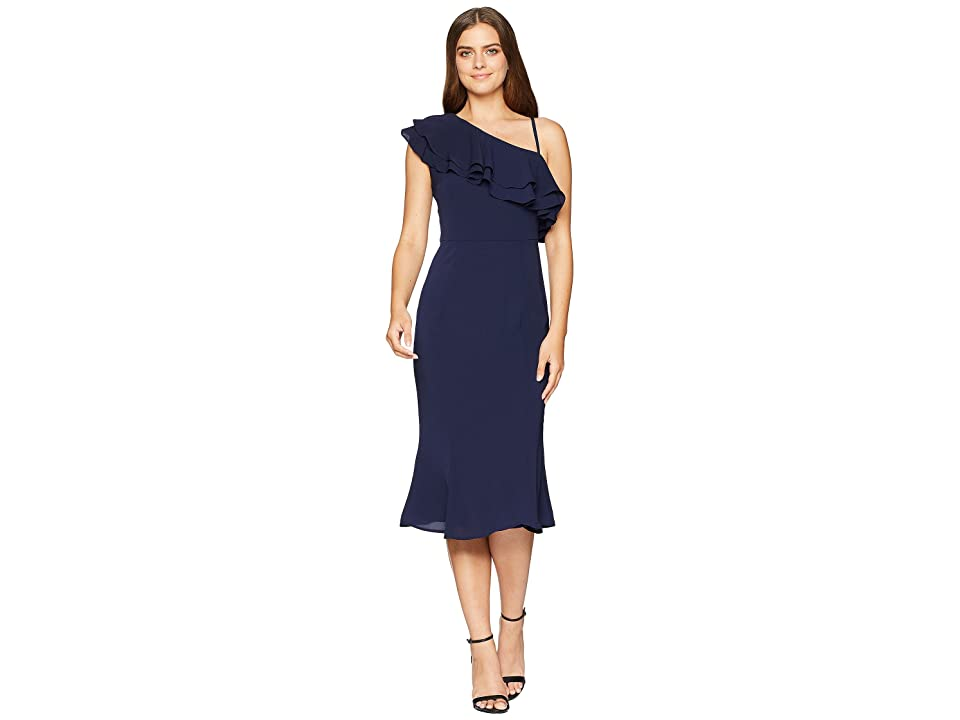 London Times Catalina Crepe One Shoulder Dress (Navy) Women
