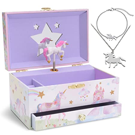 Jewelkeeper Unicorn Music Box & Little Girls Jewelry Set - 3 Unicorn Gifts for Girls