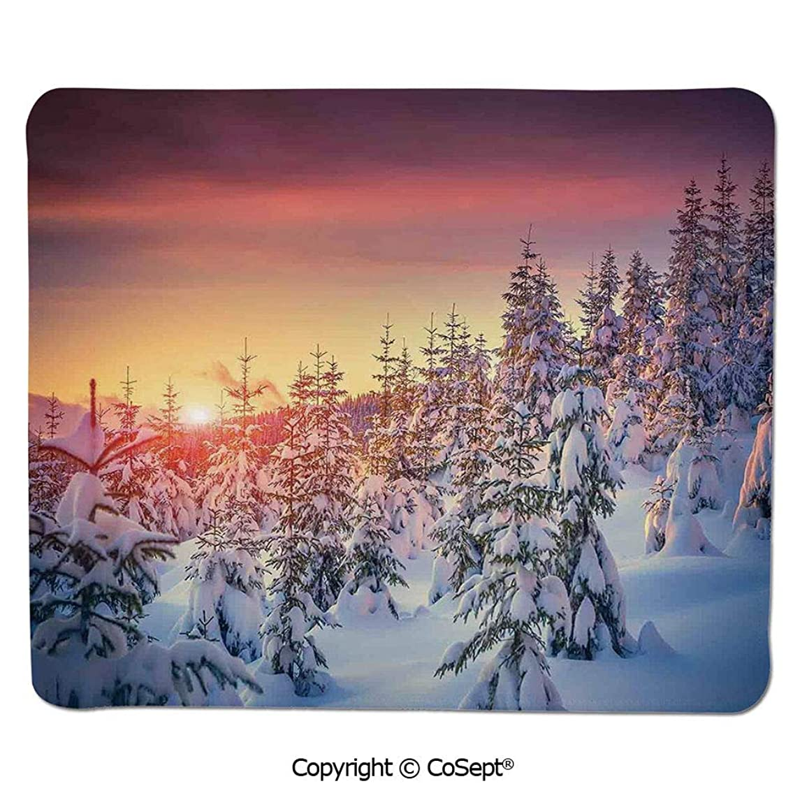 Non-Slip Rubber Base Mousepad,Snowy Landscape at Gloomy Sunrise Light in Mountain Forest Serene Photo,Water-Resistant,Non-Slip Base,Ideal for Gaming (11.81