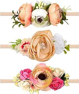 مجموعة ربطات رأس من Oaoleer Baby Girl Floral - 3 قطع من إكسسوارات شعر حديثي الولادة (3 قطع بلون الخوخ الفاتح)