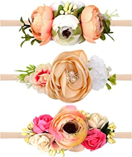 Oaoleer Baby Girl Floral Headbands Set - 3pcs Flower Crown Newborn Toddler Hair Accessories (3pcs Pastel Peach)