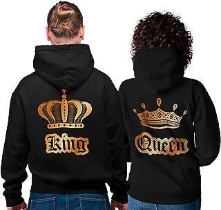 Stampa Bianca con Corona e Scritta Felpa con Cappuccio da Donna Shirtgeil Queen