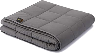 """Fabula Life 17lbs Weighted Blanket for Adults, Premium Cotton Heavy Blanket with Glass Beads for Calm Deep Sleep, Queen Size (80""""x60"""", 17 lb)"""
