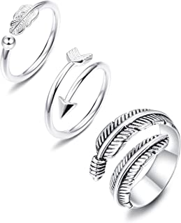 JOERICA 3 Pcs Silver Adjustable Open Rings Women Girls Feather Thumb Stackable Knuckle Ring Sideways Arrow Horizontal Ring