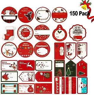 SCIROKKO 150PCS Christmas Gift Tag Stickers Label Self Adhesive with 30 Different Designs Santa Snowmen Xmas Tree Reindeer etc