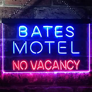 zusme Bates Motel No Vacancy Novelty LED Neon Sign Red + Blue W16 x H12