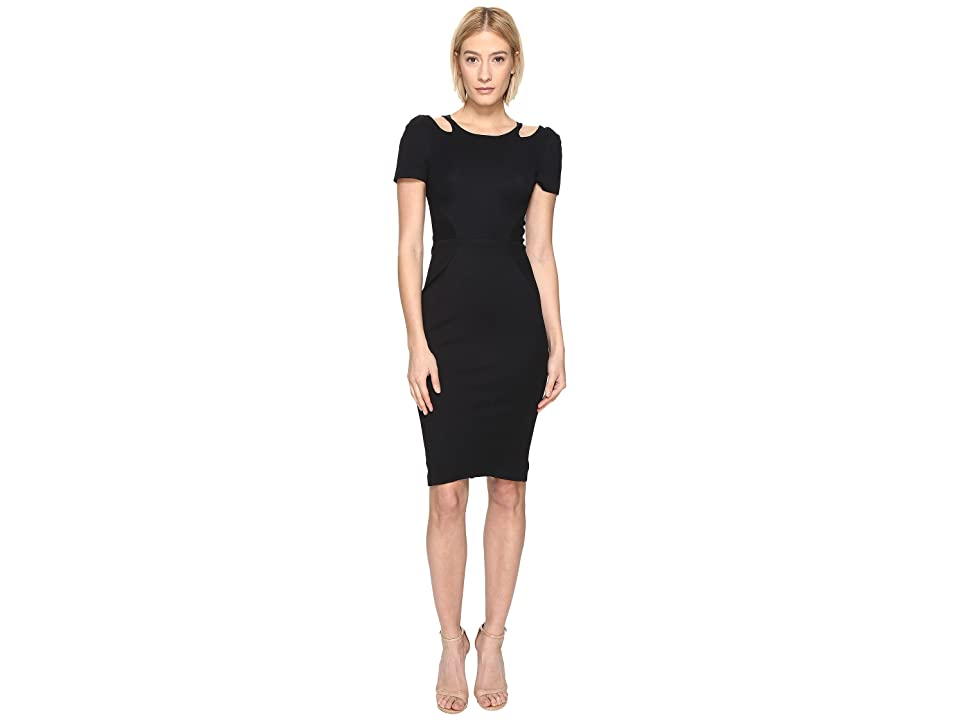 Zac Posen Bondage Cut Out Jersey Short Sleeve Dress (Black) Women