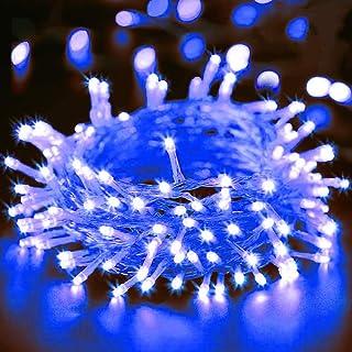 AURSTORE BASA Guirlande Lumineuse 10M 100 LED Décoration Romantique pour Sapin de Noël Mariage Fête (Bleu, Fil Transparente)