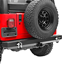 KML Rear Bumper with Hitch Receiver and D-Ring Classic Black Fit for 87-06 Jeep Wrangler TJ YJ