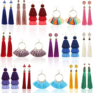 QUEFE 15 Pairs Tassel Earrings Bohemian Colorful Long Layered Thread Ball Dangle Earrings Tassel Hoop Fringe Tiered Tassel Drop Earrings Fashion Jewelry for Girls Women Valentine Birthday Party Gifts