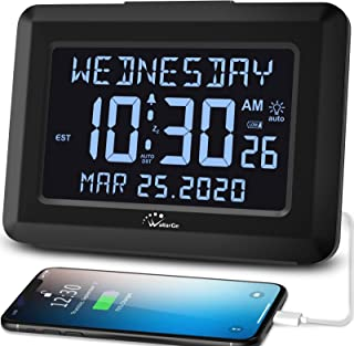 Wallarge Digital Auto Set Large Display Alarm Clock with Day and Date, Plug in or Battery Operated Digital Alarm Clock wit...