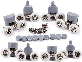 Douchecabinedeurwielen, wielen voor douchecabinetdeur, 4 x boven en 4 x onder, 25 mm, 8 stuks dubbele wielen
