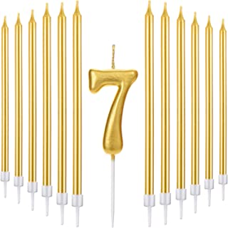 Tatuo 21 Pieces Happy Birthday Cake Candles Set Includes Metallic Number Candle, 20 Pieces Gold Long Thin Birthday Candles for Birthday Wedding Party Anniversary (Number 7)
