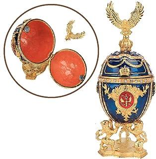 comprar comparacion HEEPDD Pintado a Mano Esmaltado Huevo Faberge Chapado en Oro Diamantes Brillantes Joyero para Collar Pulsera Baratija Inic...