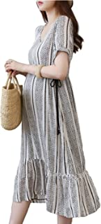Fashion Dress for Pregnant Women Maternity Dress Over Knee With Adjustable Waist Plus Size for Women XL
