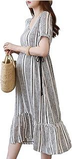 فستان انيق للنساء الحوامل فساتين حمل فوق الركبة مع خصر قابل للتعديل للاحجام الزائدة للنساء - مقاس XL