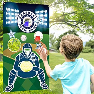 COPOZZ Baseball Toss Games with 3 Bean Bags, Indoor Outdoor Bean Bag Game Sets for Kids and Adults, Baseball Banner for Sport Theme Party Decorations Supplies