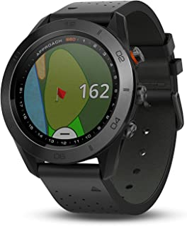 Garmin Approach S60, Premium GPS Golf Watch with Touchscreen Display and Full Color CourseView Mapping, Black w/ Leather Band