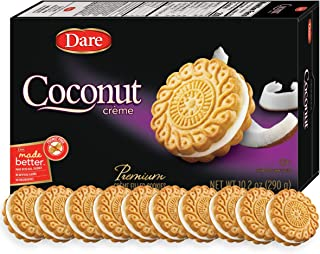 Dare Coconut Crème Cookies – Made with Real Coconut and No Artificial Flavors, Peanut Free – 10.2 Ounces (Pack of 12)
