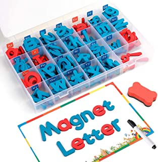 Magnetic Letters 208 Pcs with Magnetic Board and Storage Box - Uppercase Lowercase Foam Alphabet ABC Magnets for Fridge Re...