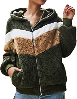 Fluffy Jacket for Women Faux Fleece Fuzzy Open Front Button Coats with Pockets Outerwears(S-XXL)