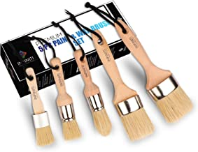 PROFESSIONAL CHALK AND WAX PAINT BRUSH 5PC Master SET!!!! Large DIY Painting and Waxing Tool | Smooth, Natural Bristles | ...