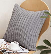 ANDUUNI Decorative Cotton Knitted Pillow Case Cushion Cover Double-Cable Knitting Patterns Soft Warm Throw Pillow Covers Cover Only Green