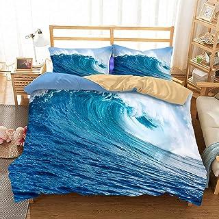 APJJQ Holiday Duvet Cover Sets Full/Queen Tropical Beach White Waves Surfing Blue Ocean Bedding Set for Adults Kids Boys Girls 100% Microfiber 3 Pieces 2 Pillow Sham