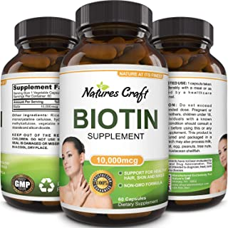 Pure + Potent Biotin Vitamins - Promotes Hair Growth + Prevents Hair Loss - Introduces Better Skin + Hair + Nails - Natura...