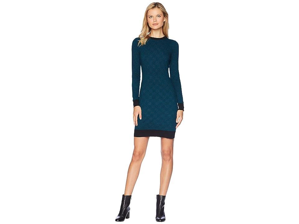 MICHAEL Michael Kors Bandana Print Sweater Dress (Black/Luxe Teal) Women