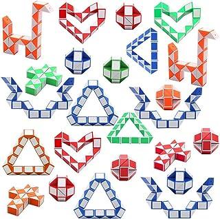 Viccess 24 Stücke Magic Snake Schlangen Würfel Magische Geschwindigkeit Würfel Mini Kunststoff Puzzle Würfel Spielzeug für Kinder Party Tasche Füllstoff, Party Supplies,Zufällige Farbe