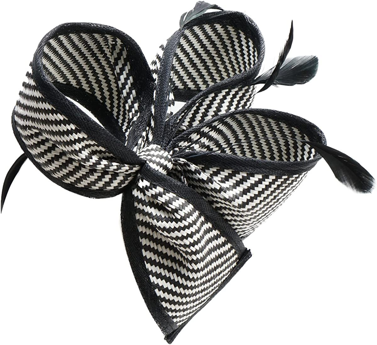 Lawliet Womens Retro Black Mix White Sinamay Floral Fascinator Bow Hat