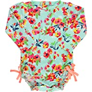 RuffleButts Baby/Toddler Girls UPF 50+ Sun Protection Long Sleeve One Piece Swimsuit with Zipper